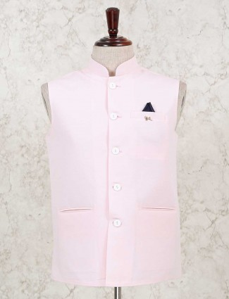Solid pink cotton silk party waistcoat