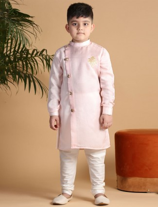 Solid pink cotton stand collar kurta suit