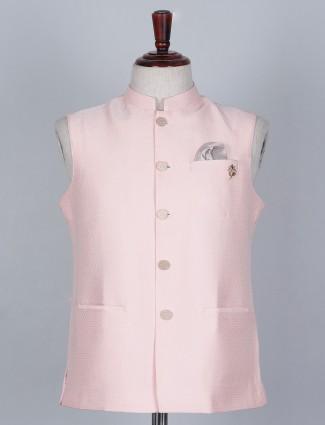 Solid pink waistcoat in silk