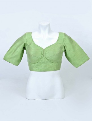 Solid pista green raw silk blouse