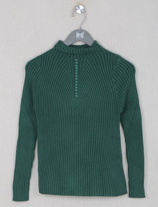 Solid rama green casual top for women