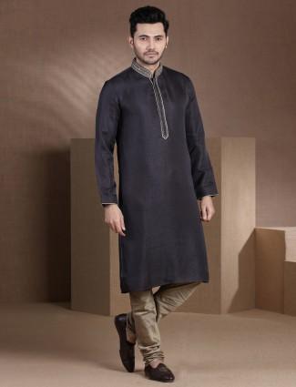 Solid raw silk mens kurta suit in dark gery