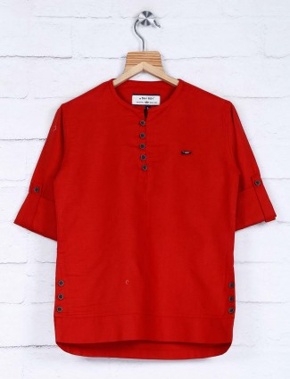 Solid red hue henley neck shirt