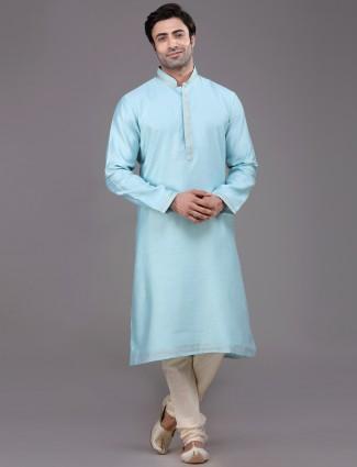 Solid aqua blue silk kurta suit