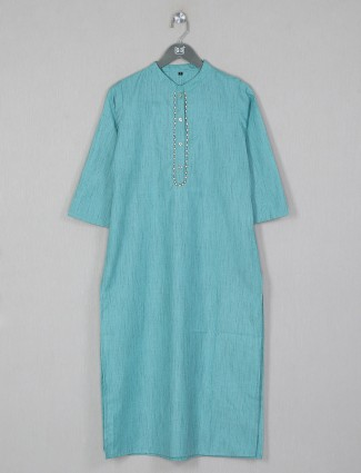 Solid style aqua tint cotton kurti for casual event