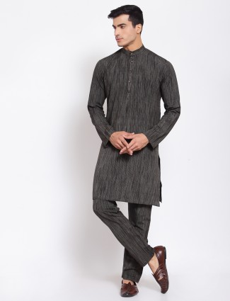 Solid style black hue festive wear cotton kurta suit