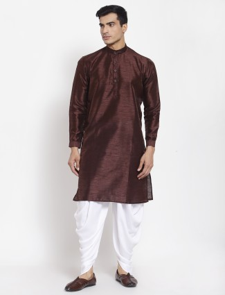 Solid style brown tint cotton silk dhoti suit