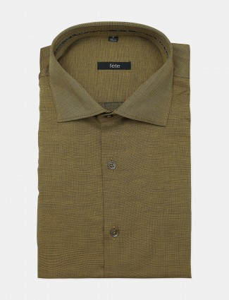 Solid style fete olive green shade cotton shirt