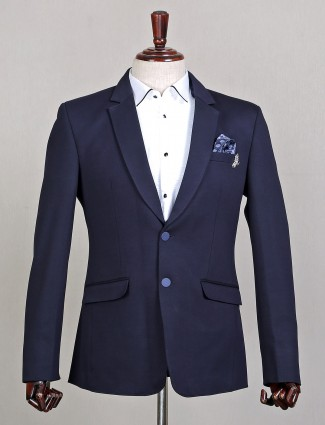 Solid style navy hue terry rayon blazer for mens