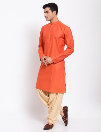 Solid style orange hue cotton kurta with patiala