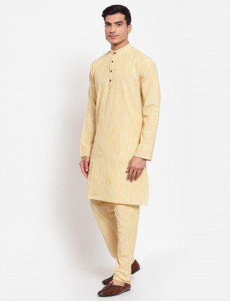 Solid style yellow tint churidar with kurta