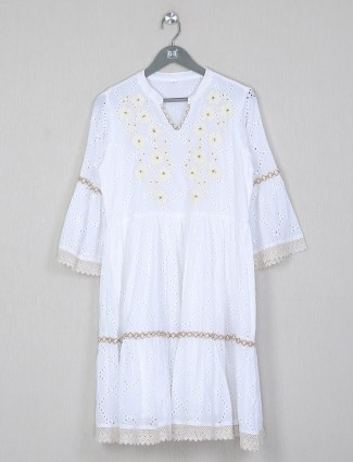 Solid white cotton casual wear dress