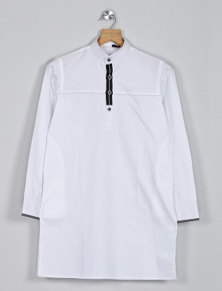 Solid white festive wear pathani suit