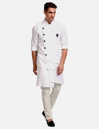 Solid white mens cotton waistcoat set