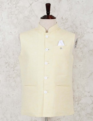 Solid yellow cotton linen waistcoat