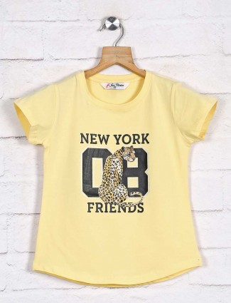 Solid yellow girls cotton top
