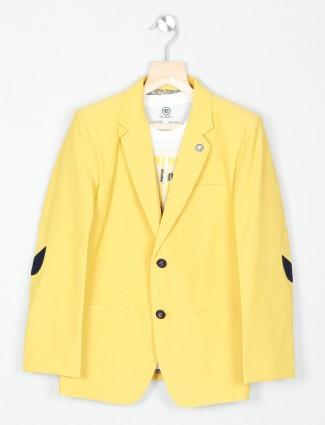 Solid yellow hue terry rayon blazer