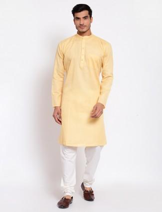 Solid yellow kurta with churidar for men