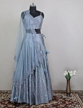 Sophisticated sky blue shade wedding lehenga choli with mirror work details