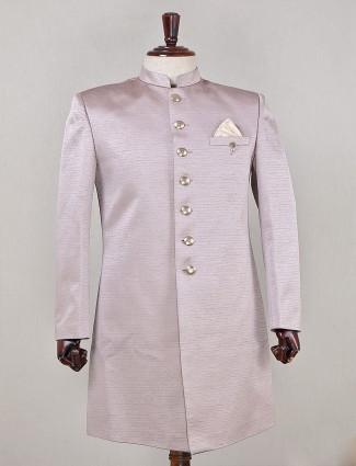Soplid purple indowestern sherwani in silk for wedding