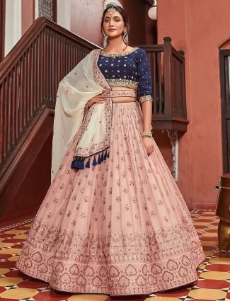 Sparkly pink hue wedding lehenga choli in georgette