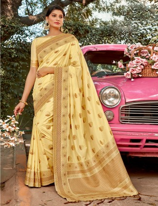 Special beige semi silk saree for wedding occasions