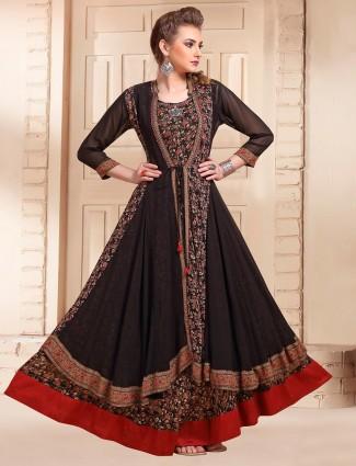 Spectacular black georgette printed designer kurti