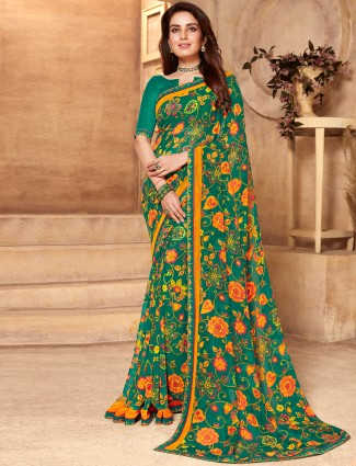 Spectacular printed peacock green georgette saree