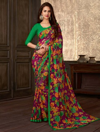 Spectacular purple printed georgette saree for festive