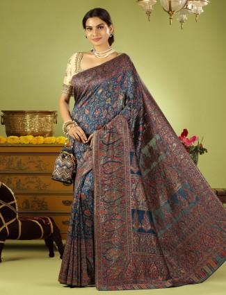 Spectacular rama blue wedding wear silk saree with ready made blouse