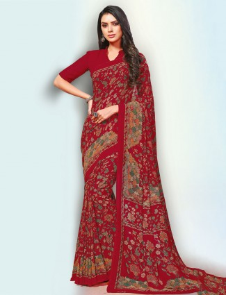 Spectacular red printed georgette saree