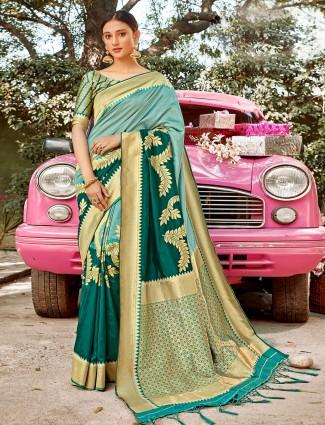 Spectacular teal green semi silk saree for wedding