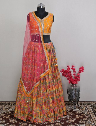 Spectacular yellow rawsilk wedding wear lehenga choli