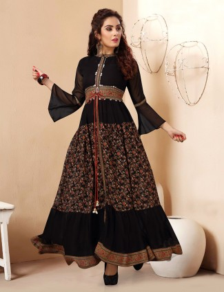 Splendid black georgette printed designer kurti