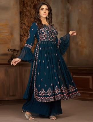 Splendid blue georgette party wear punjabi palazzo suit