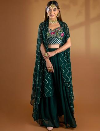 Splendid bottle green georgette lehenga suit for wedding wear