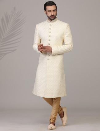 Splendid cream lucknowi thread patern jaquard silk sherwani