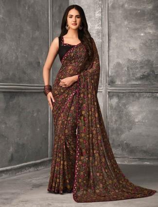 Splendid Georgette black saree for festive