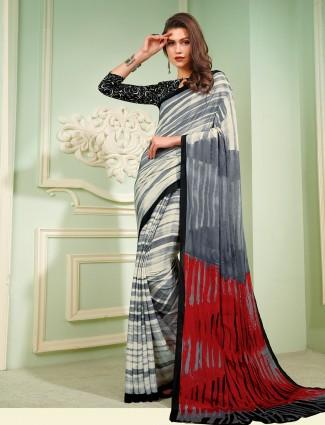 Splendid crepe grey printed saree