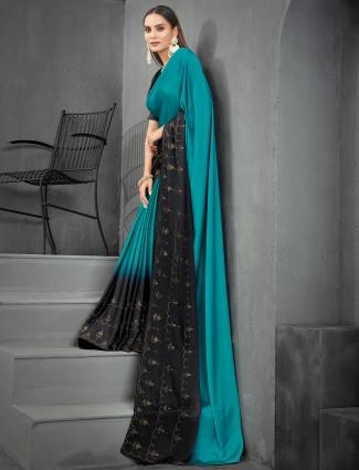 Splendid satin peacock blue printed saree