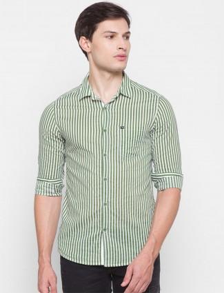 Spykar slim fit olive stripe cotton shirt