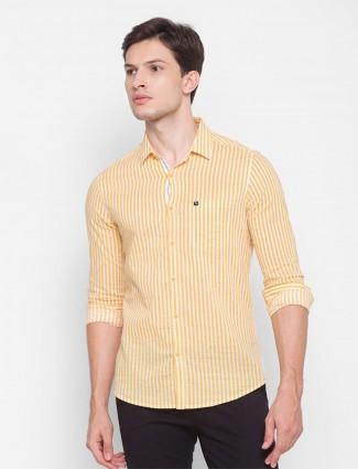 Spykar yellow stripe  patch pocket casual shirt
