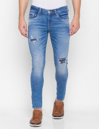 Spyker solid blue slim fit jeans