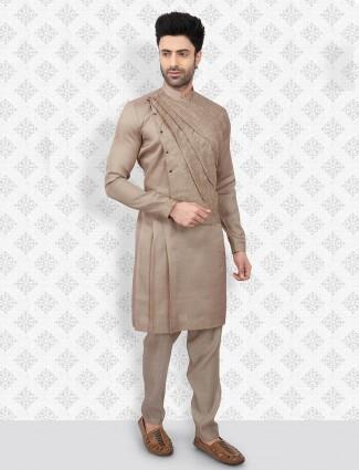 Stand collar beige cotton kurta suit