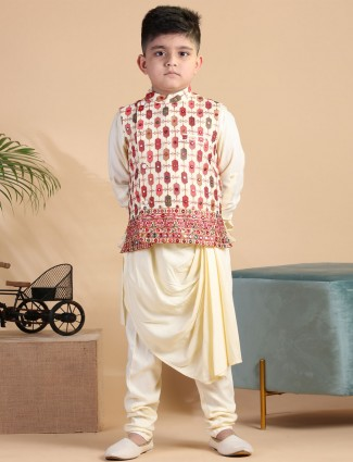 Stand collar cream silk waistcoat set