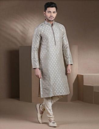 Stand collar grey zari woven cotton silk kurta pajama