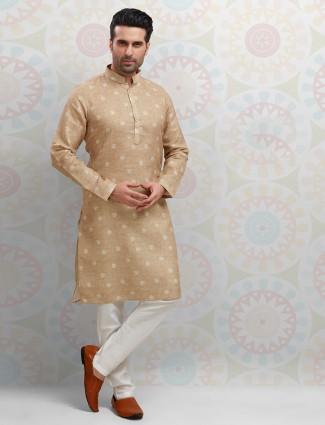Stand collar printed beige kurta suit