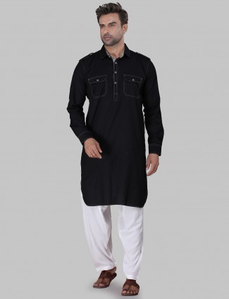 Stand collar solid black pathani suit