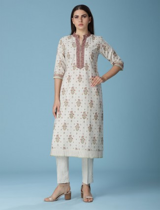 Stand neck cream linen printed kurti