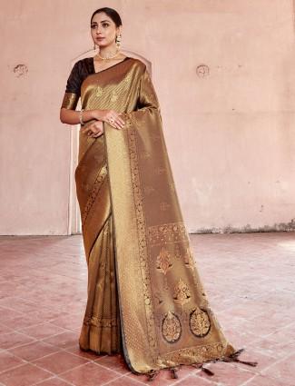 Stately brown kanjivaram silk saree for wedding functions